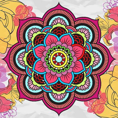 mandalas de flores coloreadas