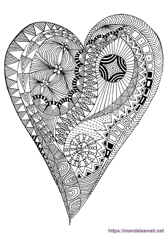 Dibujo de un corazon mandala