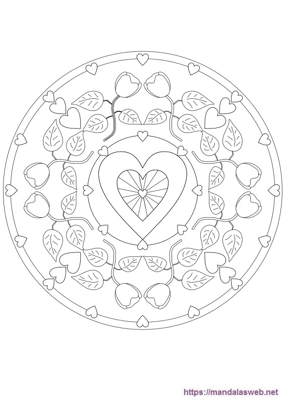 Mandalas de corazones para colorear