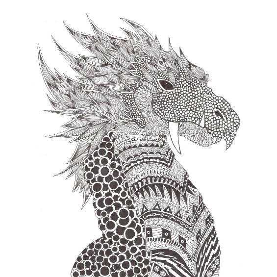 dragón mandala para colorear