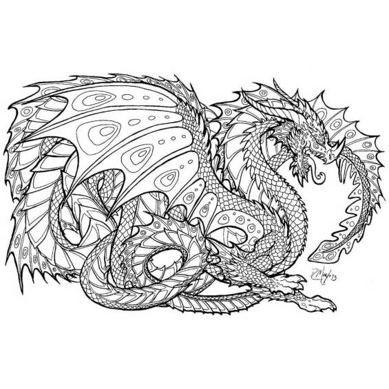 dragon mandala para colorear e imprimir