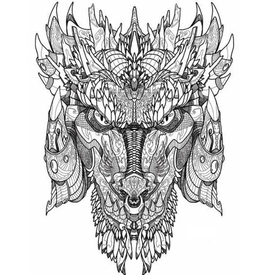 dragones mandalas para colorear