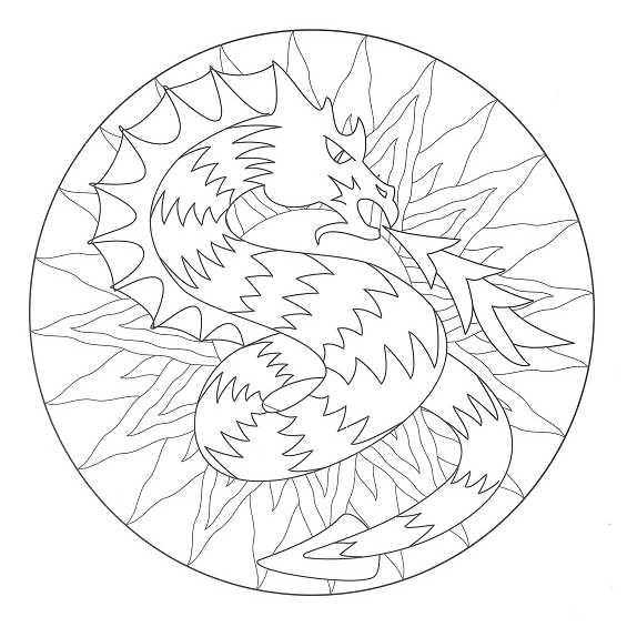 mándalas de dragones para colorear