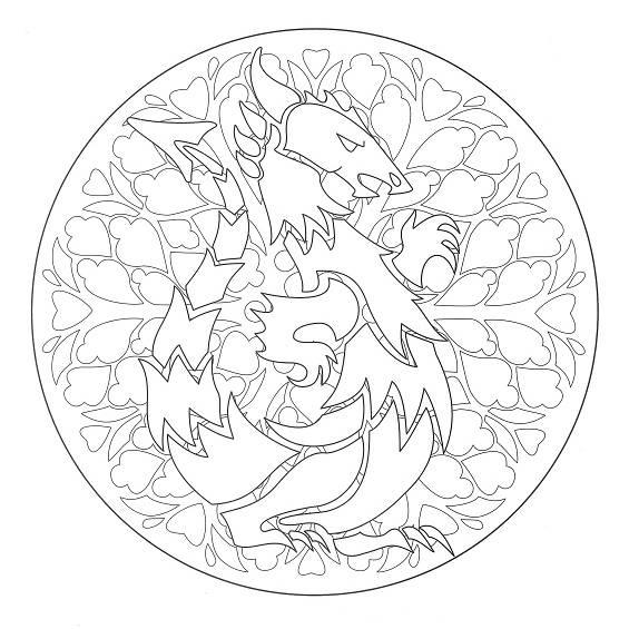 mándalas de dragones para pintar