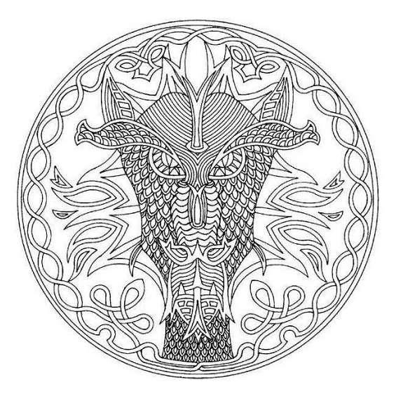 mandala de dragón para colorear