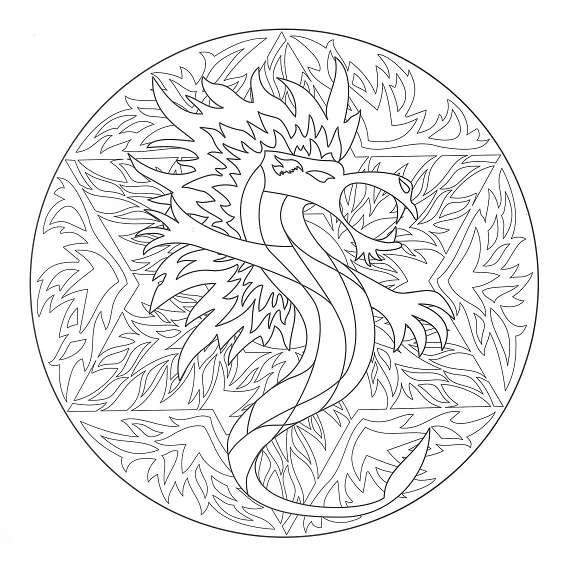 mandala de dragon para imprimir