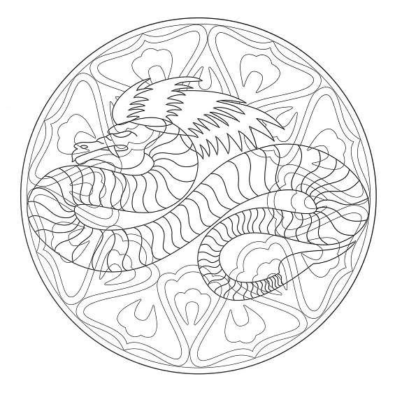 mandala de dragon para pintar