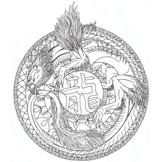 mandala de un dragon para colorear
