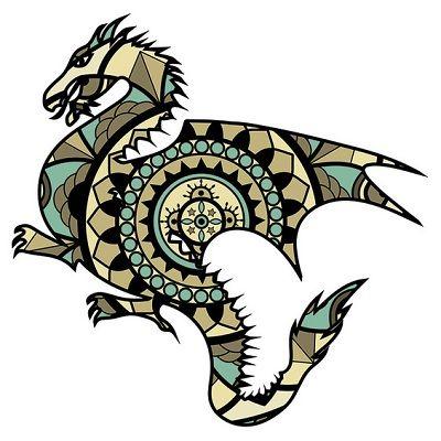 mandalas de dragones coloreados