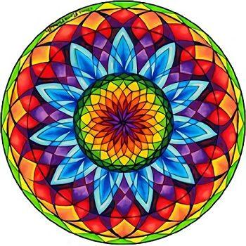 imagen de un mandala coloreado
