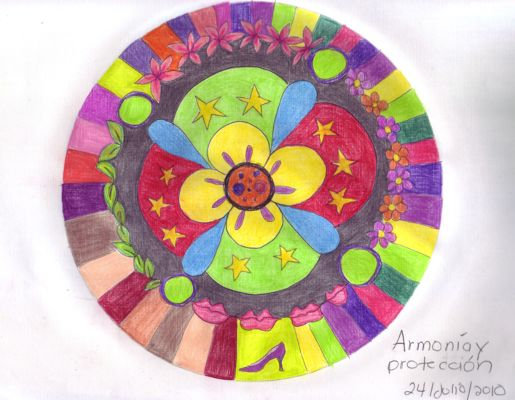 mandala coloreada de armonia y proteccion