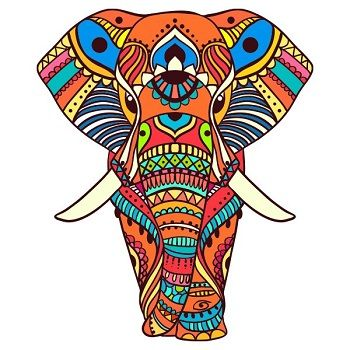 mandala coloreada elefante