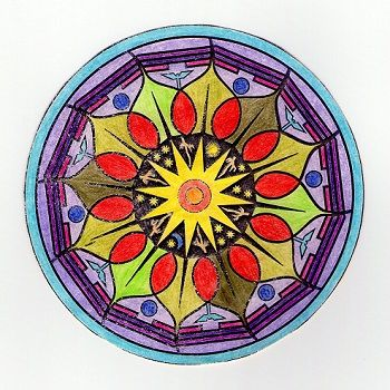 mandala coloreada facil
