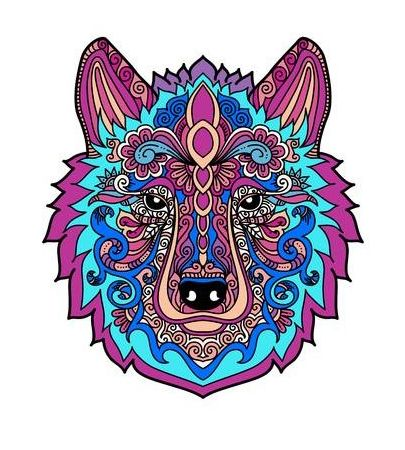 mandala coloreada lobo