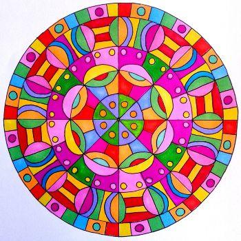 mandala coloreado facil con colores llamativos