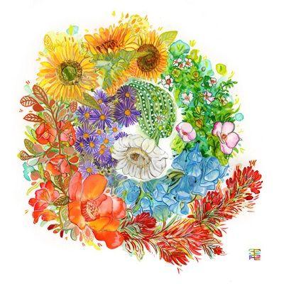 mandala colores de flores