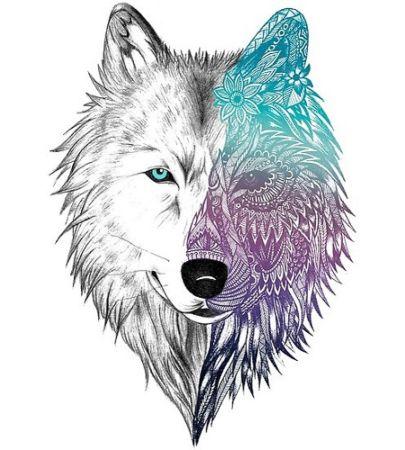 mandala pintado lobo