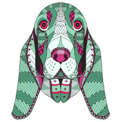 mandala pintado perro verde