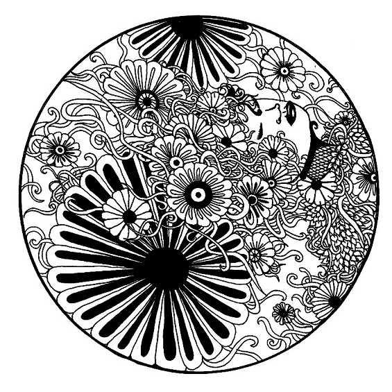 mandala dificil de flores para colorear
