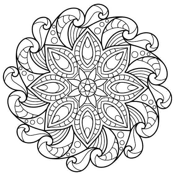 mandala dificil de flores para pintar