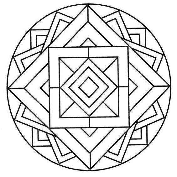 mandala para niños con cuadrados y triangulos
