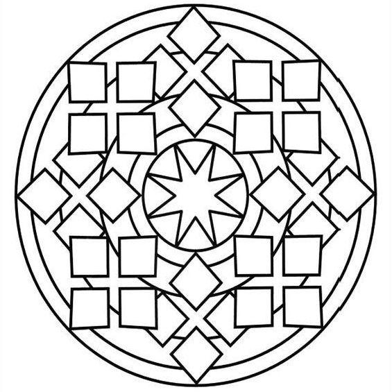mandala para niños con estrella en el centro