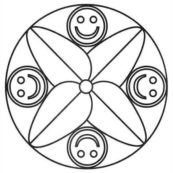 mandalas para niños de preescolar con cuatro caras
