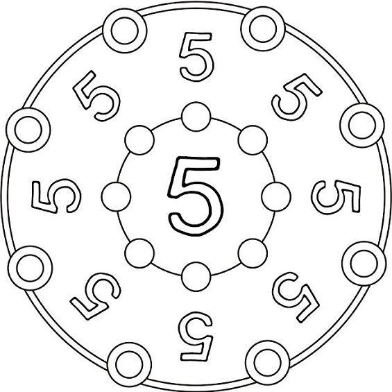 mandalas para colorear numero cinco