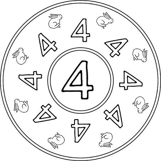 mandalas para colorear numero cuatro