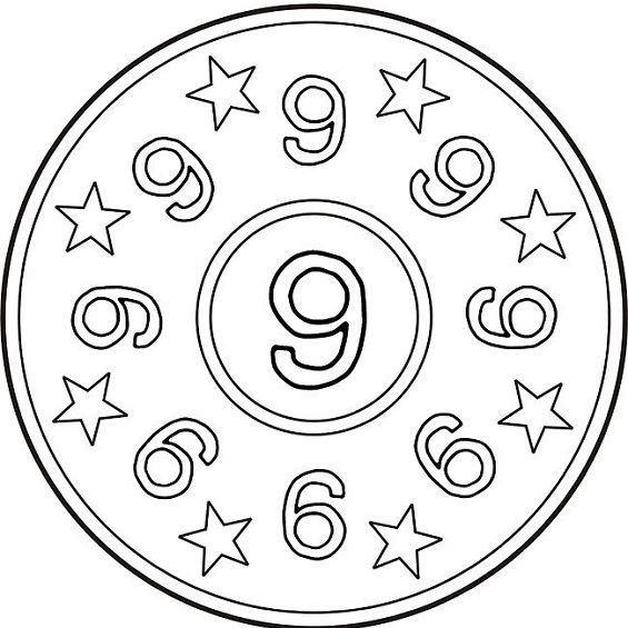 mandalas para colorear numero nueve