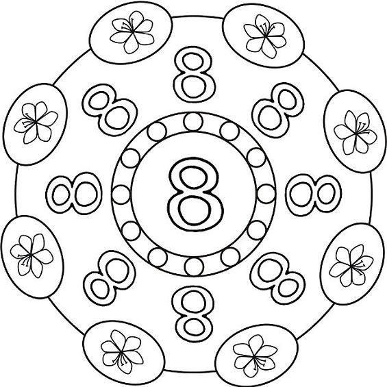 mandalas para colorear numero ocho