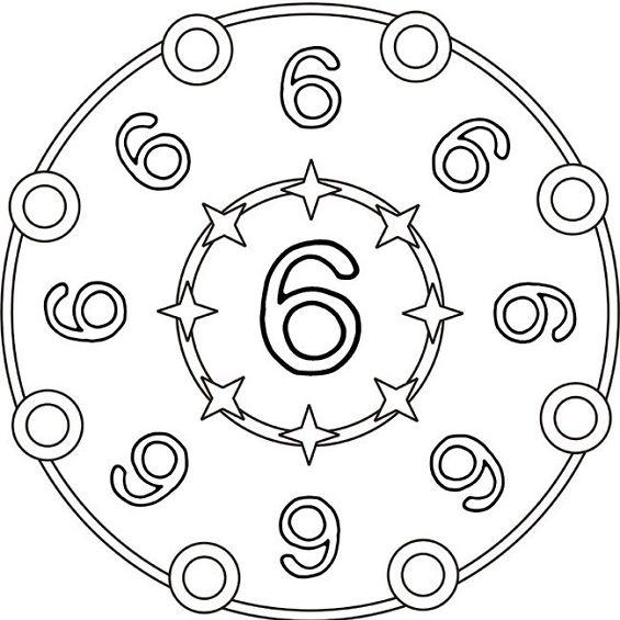 mandalas para colorear numero seis