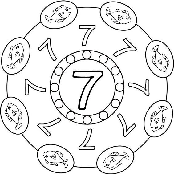 mandalas para colorear numero siete
