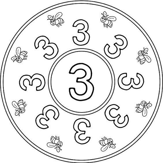 mandalas para colorear numero tres